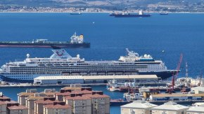 Cruise ship sails in