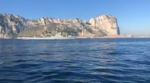 Spanish ship sails through Gibraltar waters playing Spanish anthem