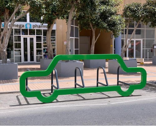 New Car-Shaped Bicycle Rack at Europort Road
