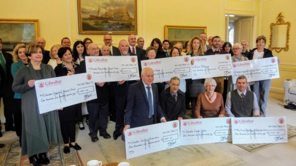 Cheques from The Convent to eight charities