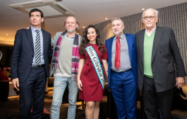 Organiser and Hotel Manager Franco Ostuni, tournament director Stuart Conquest, Miss Gibraltar 2018 Star Farrugia, Gibraltar's Sport and Culture Minister Steven Linares and festival founder Brian Callaghan. Pic by David Llada.