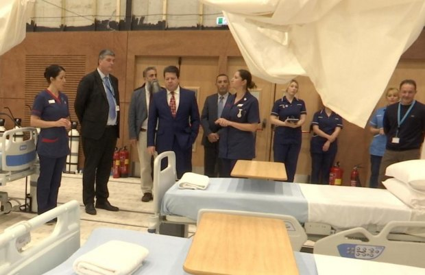 The Chief Minister visits the new Florence Nightingale Field Hospital at Europa Point